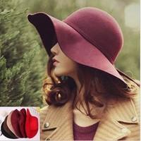 Fashion vintage hat pure vivi woolen hat female autumn and winter waves large brim sunbonnet fedoras lady sun hat