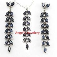 Angel's Jewelry  !Wholesale  Natural Sapphire Jewelery Set ,  Real Gem Stone Party Jewelery