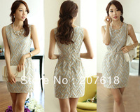 Spring 2013 Sexy Women Sleeveless Crochet Hollow Out Mini Dress OL Lady Elegance Formal Dresses