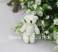 H-6cm cream white  lovely Mini Stuffed Jointed Bear Gift Flower Packing Teddy Bears 100pcs/lot