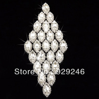 free shipping 7*17cm sparkling crystal glass rhinestone applique silver plating flatback prismatic diamond shape garment sewing