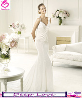 Free Shipping Deep Love 2013 Elie Saab Elegant Mermaid V-neck Spaghetti Straps Ivory Formal Weddings Gowns/Wedding Dresses