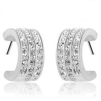 Elegant Small Hoop Earrings,3 Rows Austrian Crystal&S925 Sterling Silver Material,Newest Style OE06