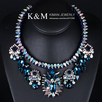 (Min order is $10) New Fashion Luxurious Famous Brand Cup Chain Multicolour Crystal Necklace for Women Free shipping NK-01056