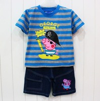 free shipping peppa pig george pig boy boys short sleeve tops t shirt + short jeans stripe cotton