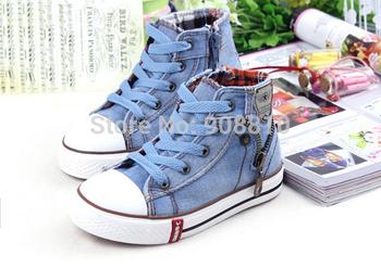 2014 осень джинсовые высокая детская обувь из ткани мода кроссовки мальчики обувь для девочек детская обувь детские