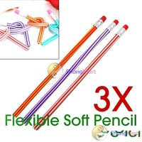 Free shipping: 3 X Colorful Magic Flexible Bendy Soft Pencil for Kids wholesale