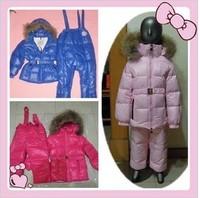 2013 winter Child down coat baby set Boys & Girls white large fur collar Big children down suit free shipping