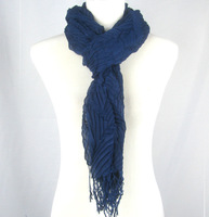 Wrinkled Single Color Solid Scarf, Quality Shawl With Sexy Tassel For Women,75*200+5