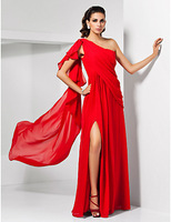 Lost in City Nights! Party Dress Prom Dress Sheath/ Column One Shoulder Sweep/ Brush Train Chiffon Cocktail Dress
