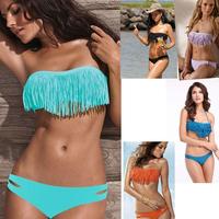 2014 New Push Up Bikini Sexy Women Triangle Swimsuit Tassel Bikini Low Waist 5 Colors Bandage Sexy Bikini S M L XL For Women