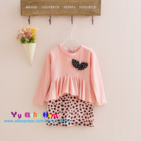 Hot 2013 child girls children color block decoration faux two piece pink leopard print s long-sleeve dress free shipping