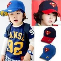 Super man child hat baby sun hat summer male child cap baseball cap sunbonnet bonnet free shipping