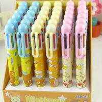 rilakkuma 6 colors ballpoint kawaii colored multifunctional pens korean stationery office school supplies wholesale