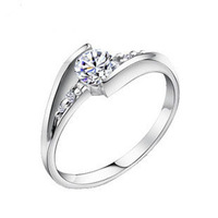 Wholesale 100% Real 925 Sterling Silver Platinum Plated Super Zircon Nice Wedding Ring TOP quality SSR002