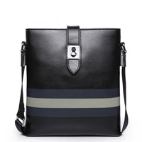 100% Genuine leather Man bag cowhide color block stripe shoulder bag messenger bag business casual stud bag Free shipping