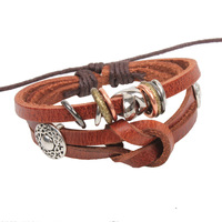 genuine leather  charm bracelet wrap for women  with antique bronze antique silver women accessories