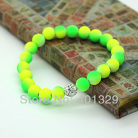 Min.order is $15(Mixed orders) Fashion Unisex Simple Bracelet Wholesale 8mm Colorful Fluorescent Neon Beads Free Shipping!