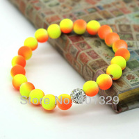 HOT!!! 2013 Fashion Cheap Bracelet Wholesale 8mm Colorful Fluorescent Neon Beads Min.order is $15(Mixed orders)