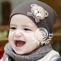 Wholesale baby hat children cotton dot head cap infant cap hat ear