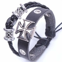 ancient rome cross bracelet man black leather charm bracelet wrap