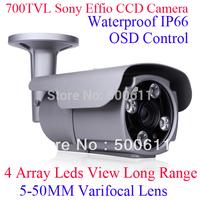 "Array IR 700TVL 1/3"" SONY Exview EFFIO-E CCD 5-50mm Varifocal Lens Waterproof Surveillance CCTV Camera"