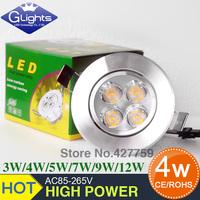 2015NEW  LED  led ceiling light 3W 4W 5w 9w LED  lamp Recessed Bulb Spot Cool White Light