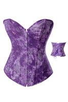 2014 New Purple Shapewear Sexy Women Lace Tops Steel Boned Corset Bustier Overbust Corselet Dress Plus Size Lingerie S-2XL