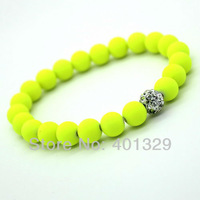 NEW Arrival! Charm Bracelet Jewelry 8mm Fluorescent Neon Beads Stretch Bracelet 3pcs/lot(mixed colors) Free Shipping!