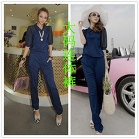 Free Shipping 2014 Summer Half Sleeve Turn-Down Collar Chiffon Plus Size Jumpsuit Trousers Women 810