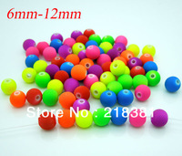 Wholesale Mixed Fluorescent Round Colorful For Necklace & Bracelet Acrylic Spacer Ball Beads 6/8/10/12mm A00440