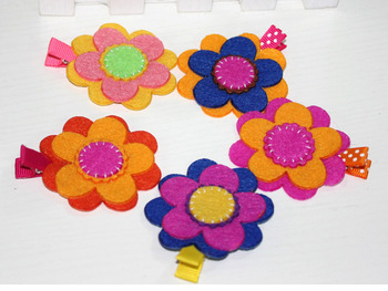 Min Order $9.9, Cute Felt Flower Hair Clips For Kids, Free Shipping
