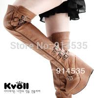 Kvoll knee-length boots autumn and winter elegant solid color wedges platform ultra high heels hasp women's long boots