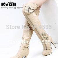 Gentlewomen kvoll ultra high heels platform boots hasp knee-length boots sexy boots