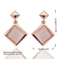 Wholesale women jewellery!18k rose gold pendant necklace,18k gold plated fashion jewelry square opal earring E454