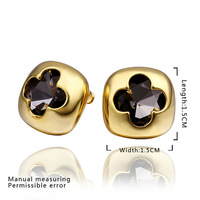 2014 Exquisite Gifts!18K gold plated fashion golden clover design black rhinestone women earring jewelry,Eas jewelry E475