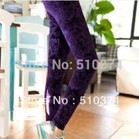 New fashion K114 2014 autumn leggings women 11 colors pleuche embossing elastic skinny pants wholesale retail FREE SHIPPING