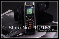 High Quality Unlocked New Limited Black Gold Signature Stainless-Steel Genuine Leather Luxury Cell Phone Free Shipping