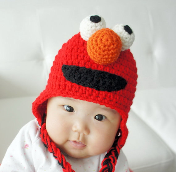 free shipping,Elmo Sesame Street Crochet baby Hat Beanie 100% Cotton New(China (Mainland))