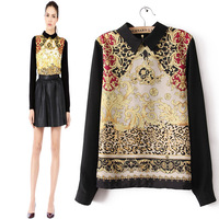 2013 autumn fashion retro women long sleeve shirts designer tops blouses flower print shirt for woman free shipping
