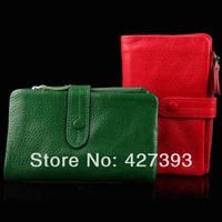 2014 Best selling super good feel genuine leather women wallet multifunction coin purse Free Shipping B2037