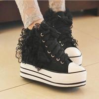 Women's lace flower platform shoes ladies women high platform canvas casual high-heeled sneakers shoes