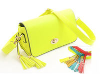 2013 fashion candy color one shoulder vintage motorcycle chain neon tassel cross-body bag