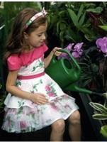 Monsoon female child 100% cotton rose flower multi-layer usuginu short-sleeve princess dress