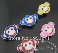 Wholesale 50pcs Mix Color monkey 8mm Slide Charm can through 8mm Belt Pet Collar Free Shipping