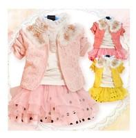 New Fashion Baby Girls Clothing Sets Infant Girl's Flower Coat +long T-shirt +Lace Skirt 3PCS Set Girl's Clothing