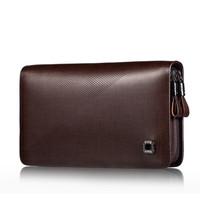 2015 fashion high quality double zipper genuine leather bag men handbags brand men clutch bags large capacity