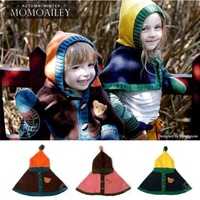 2013 new fashion European style hit color hooded cape children Cubs hat single-breasted hooded cloak