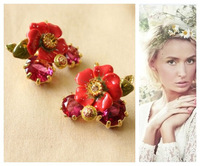 2013 fashion Free shipping les nereides**  Luxury Jewelry Flower queen Statement Earrings OEM jewelry wholesale price