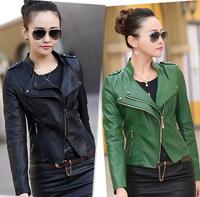 Free shipping women leather jacket 2014 Autumn PU motorcycle jacket women's leather coat women leather jacket plus size XXXL